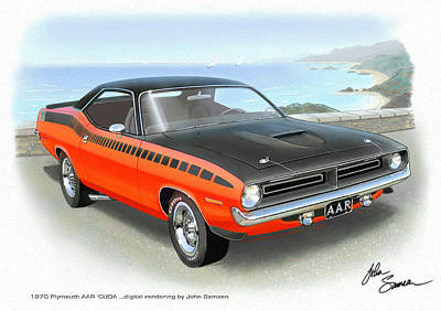 Roadrunner Digital Art - 1970 Barracuda Aar  Cuda Classic Muscle Car by John Samsen
