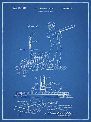 Athletes Drawings - 1970 Baseball Practice Patent by Dan Sproul