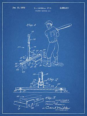 Baseball Bats Drawing - 1970 Baseball Practice Patent by Dan Sproul