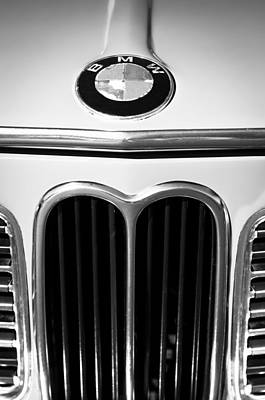 Photograph - 1970 Bmw 2000 Emblem -0302bw by Jill Reger