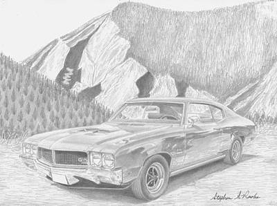 Buick Drawing - 1970 Buick Skylark Gs Muscle Car Art Print by Stephen Rooks