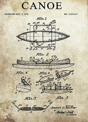 Drawing - 1970 Canoe Patent by Dan Sproul