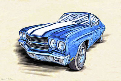 Mixed Media - 1970 Chevelle Ss Portrait by Mark Tisdale