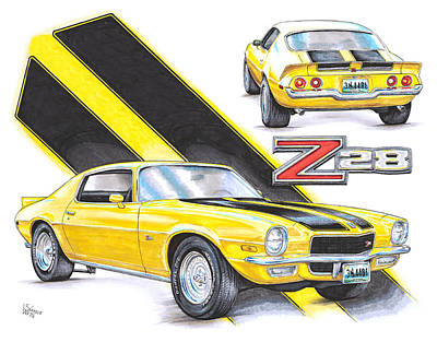 Chevy Drawing - 1970 Chevy Camaro Z28 by Shannon Watts