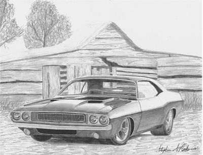 1970 Dodge Challenger Classic Car Art Print Print by Stephen Rooks