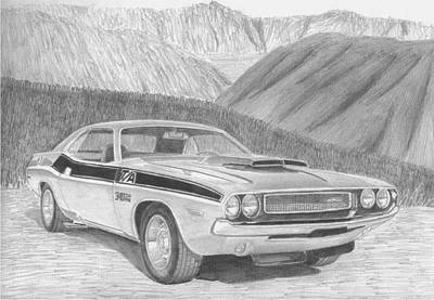 Challenger Drawing - 1970 Dodge Challenger Ta Classic Car Art Print by Stephen Rooks