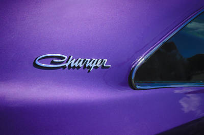 American Cars Photograph - 1970 Dodge Charger Emblem -0290c by Jill Reger
