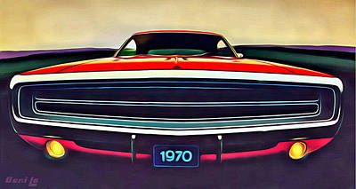 Muscle Car Painting - 1970 Dodge Charger by Little Bunny Sunshine