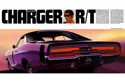 1970 Dodge Charger Rt Art Print by Digital Repro Depot