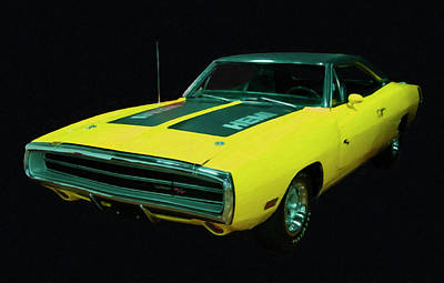 Painting - 1970 Dodge Charger Rt Hemi Digital Oil by Chris Flees