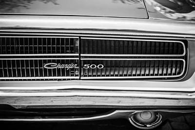 Photograph - 1970 Dodge Charger Taillight Emblem -0299bw by Jill Reger