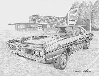 Super Cars Drawing - 1970 Dodge Super Bee 2 Muscle Car Art Print by Stephen Rooks