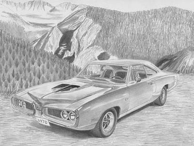 Super Cars Drawing - 1970 Dodge Super Bee Muscle Car Art Print by Stephen Rooks