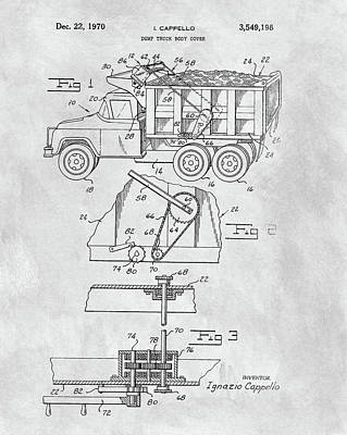 Old Trucks Mixed Media - 1970 Dump Truck Cover Patent by Dan Sproul