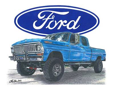 Super Cars Drawing - 1970 Ford F-250 Crew Cab by Chris Brown