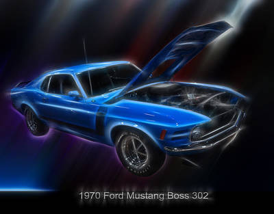 The Boss Digital Art - 1970 Ford Mustang Boss 302 Electric by Chris Flees
