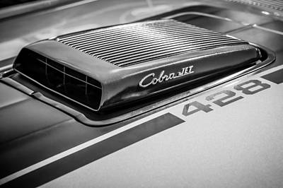 Photograph - 1970 Ford Mustang Mach 1 Fastback Cobra Jet 428 Hood Emblem -0611bw by Jill Reger