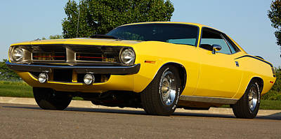 1970 Hemi 'cuda - Lemon Twist Yellow Art Print