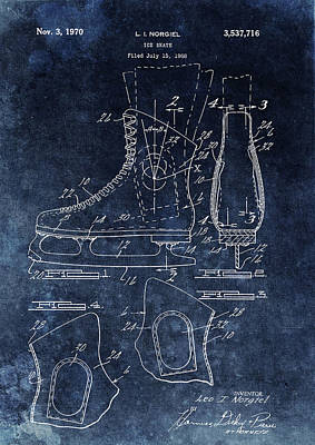 Drawing - 1970 Ice Skate Patent by Dan Sproul