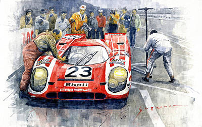 1970 Wall Art - Painting - 1970 Le Mans 24 Porsche917k Attwood Herrmann Winner  by Yuriy Shevchuk