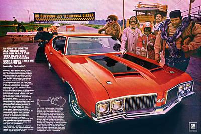 General Motors Digital Art - 1970 Oldsmobile Cutlass 4-4-2 by Digital Repro Depot