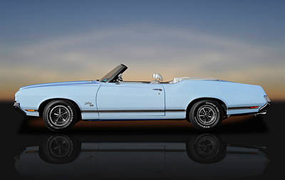 Photograph - 1970 Oldsmobile Cutlass Sx 455 Convertible  -  1970oldsmobilesx455cvreflect172123 by Frank J Benz