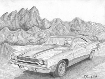 Roadrunner Drawing - 1970 Plymouth Roadrunner Muscle Car Art Print by Stephen Rooks