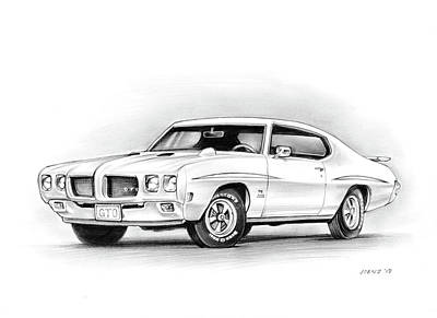 Drawing - 1970 Pontiac Gto Judge by Greg Joens