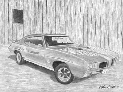 Pontiac Drawing - 1970 Pontiac Gto Judge Muscle Car Art Print by Stephen Rooks
