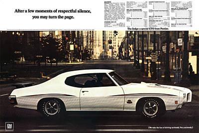 Racetrack Digital Art - 1970 Pontiac Gto The Judge  by Digital Repro Depot