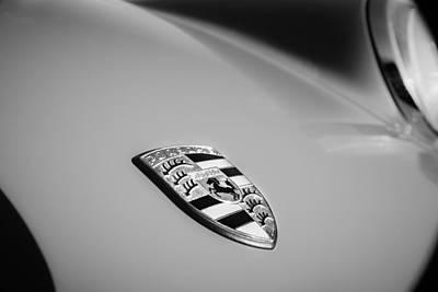 Photograph - 1970 Porsche 911 T Emblem -0168bw by Jill Reger