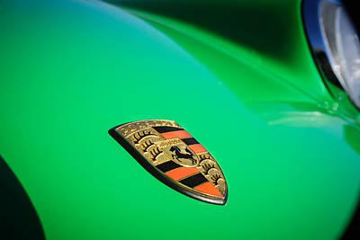 Porsche Logo Photograph - 1970 Porsche 911 T Emblem -0168c by Jill Reger