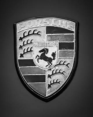 Car Emblem Photograph - 1970 Porsche 911s Steve Mcqueen Le Mans Movie Car - 1835bw45 by Jill Reger