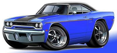 Roadrunner Digital Art - 1970 Roadrunner Blue Car by Maddmax