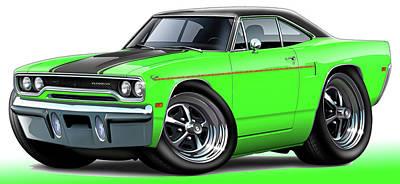 Roadrunner Digital Art - 1970 Roadrunner Green Car by Maddmax