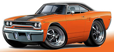 Roadrunner Digital Art - 1970 Roadrunner Orange Car by Maddmax