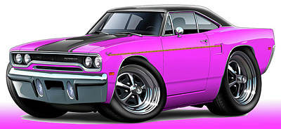 Roadrunner Digital Art - 1970 Roadrunner Pink Car by Maddmax