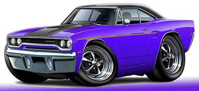 Roadrunner Digital Art - 1970 Roadrunner Purple Car by Maddmax
