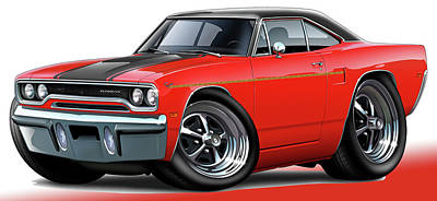 Roadrunner Digital Art - 1970 Roadrunner Red Car by Maddmax