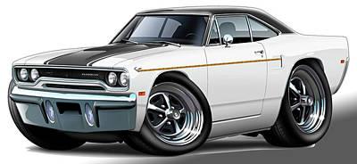 Roadrunner Digital Art - 1970 Roadrunner White Car by Maddmax