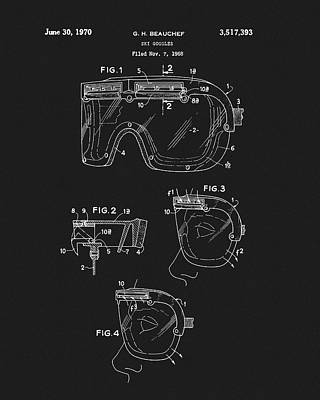 Drawing - 1970 Ski Goggles Patent by Dan Sproul