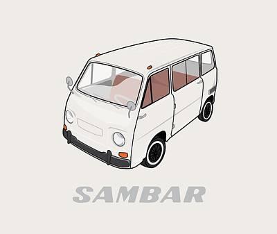 Import Car Digital Art - 1970 Subaru Sambar Van by Ed Jackson