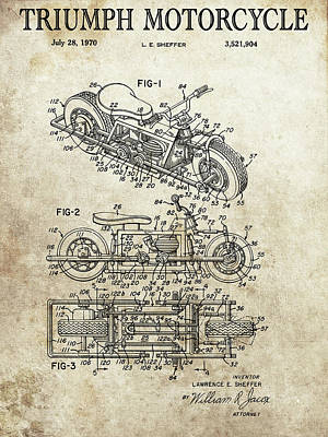 Drawing - 1970 Triumph Motorcycle Patent by Dan Sproul
