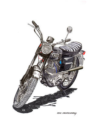 Painting - 1970 Triumph T R 25 W Trophy 250 Motorcycle by Jack Pumphrey
