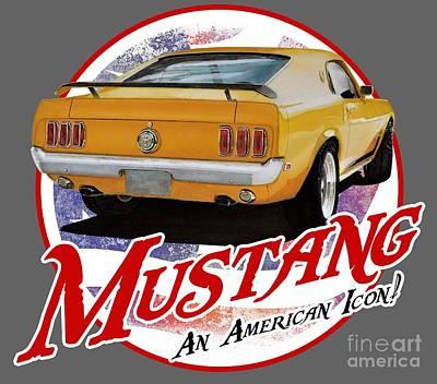 Boss Digital Art - 1970 Yellow Mustang by Paul Kuras