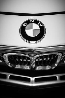 Photograph - 1971 Bmw 3.0csl Lightweight Prototype Emblem -0054bw by Jill Reger