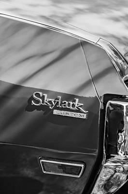 Photograph - 1971 Buick Skylark Rear Emblem -0133bw by Jill Reger