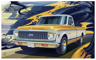 Transportation Digital Art Rights Managed Images - 1971 Chevrolet C10 Cheyenne Fleetside 2WD Pickup Royalty-Free Image by Garth Glazier