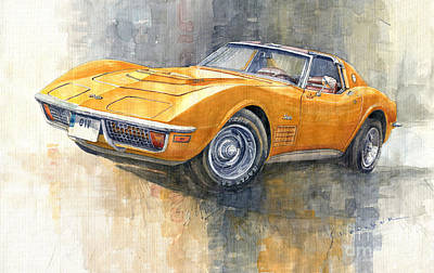 Painting - 1971 Chevrolet Corvette Lt1 Coupe by Yuriy Shevchuk