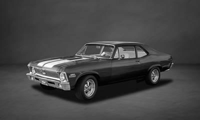 Photograph - 1971 Chevrolet Nova Super Sport 350  -  4bw by Frank J Benz